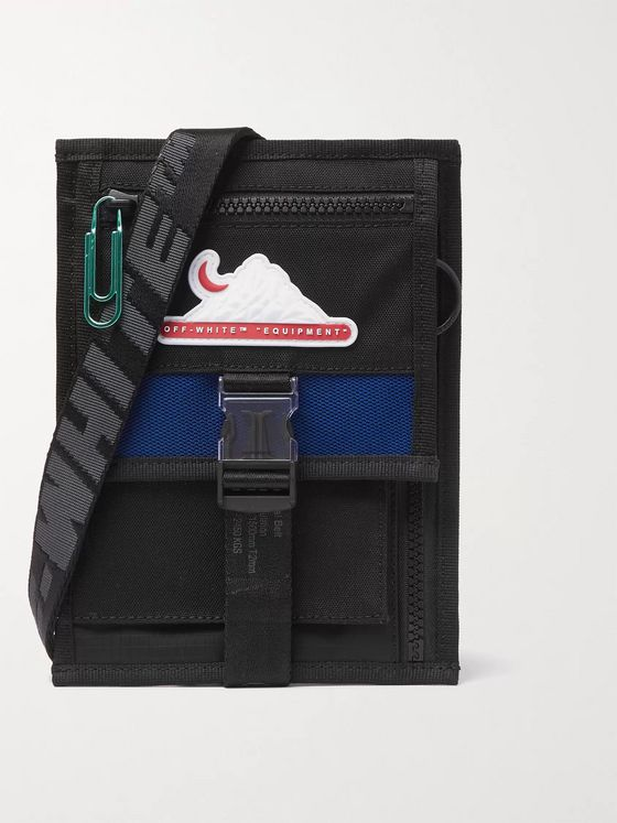 Off-White Mesh-Trimmed Canvas and Shell Messenger Bag