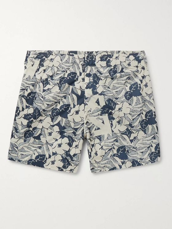 Off-White Mid-Length Floral-Print Swim Shorts