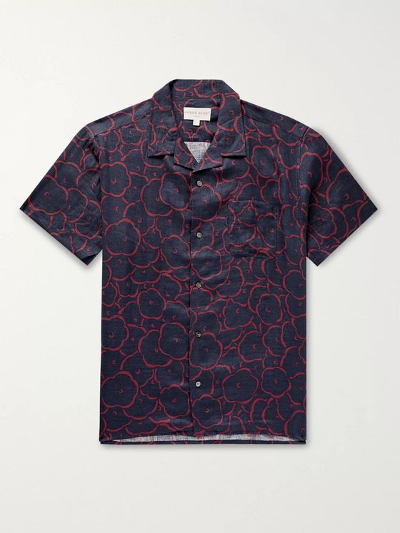 Derek Rose Milan Camp-Collar Floral-Print Linen Shirt