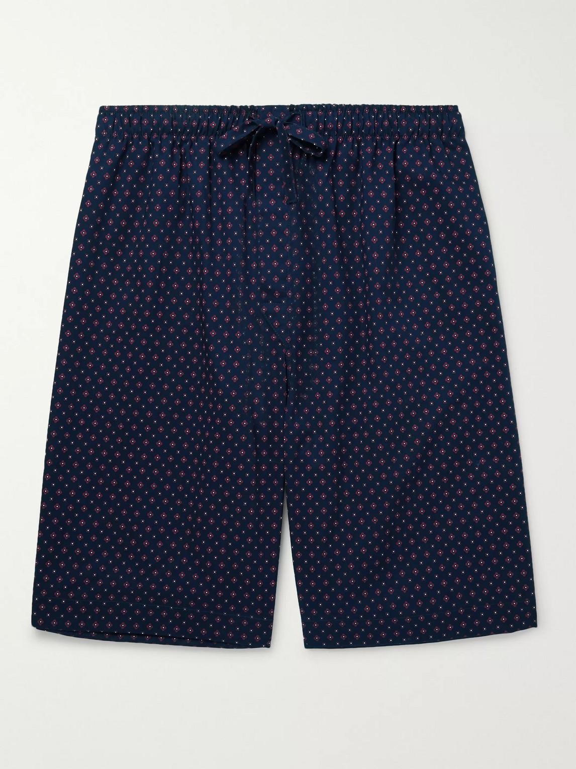 derek rose - nelson 72 printed cotton-poplin pyjama shorts - blue - xl - men