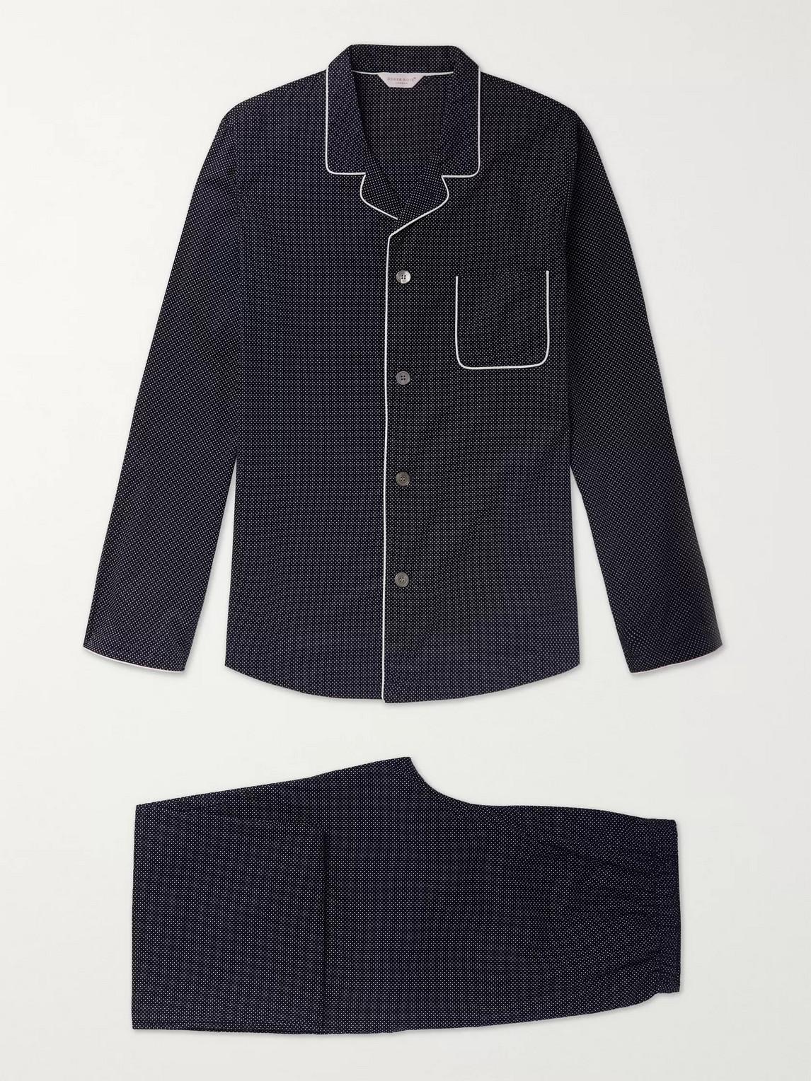 derek rose - plaza 21 piped cotton-poplin pyjama set - blue - s - men