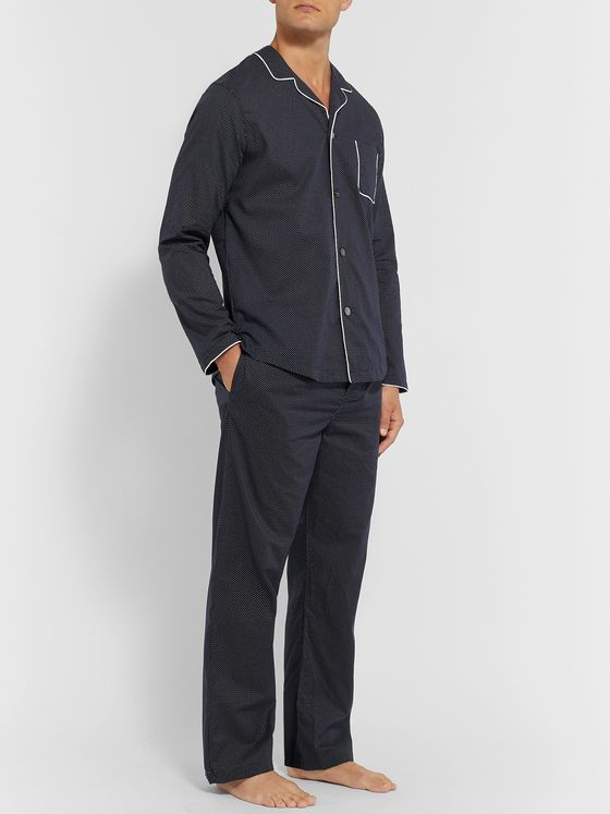 Derek Rose Plaza 21 Piped Cotton-Poplin Pyjama Set