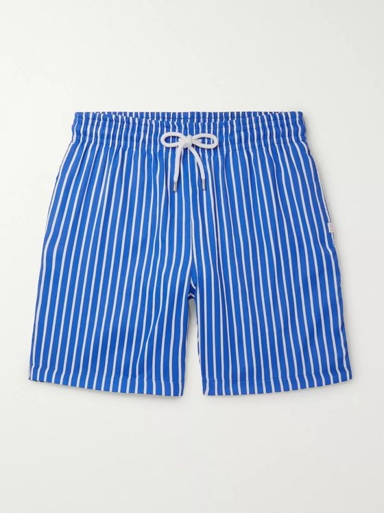 Derek Rose Bondi 1 Slim-Fit Mid-Length Striped Swim Shorts