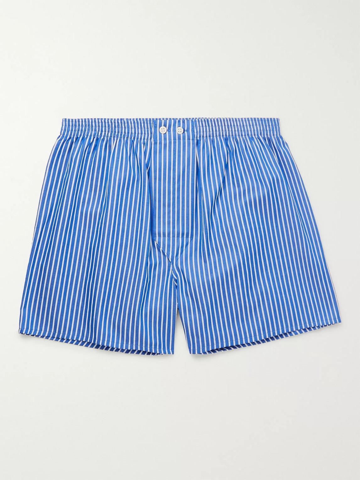 derek rose - royal striped cotton boxer shorts - blue - m - men