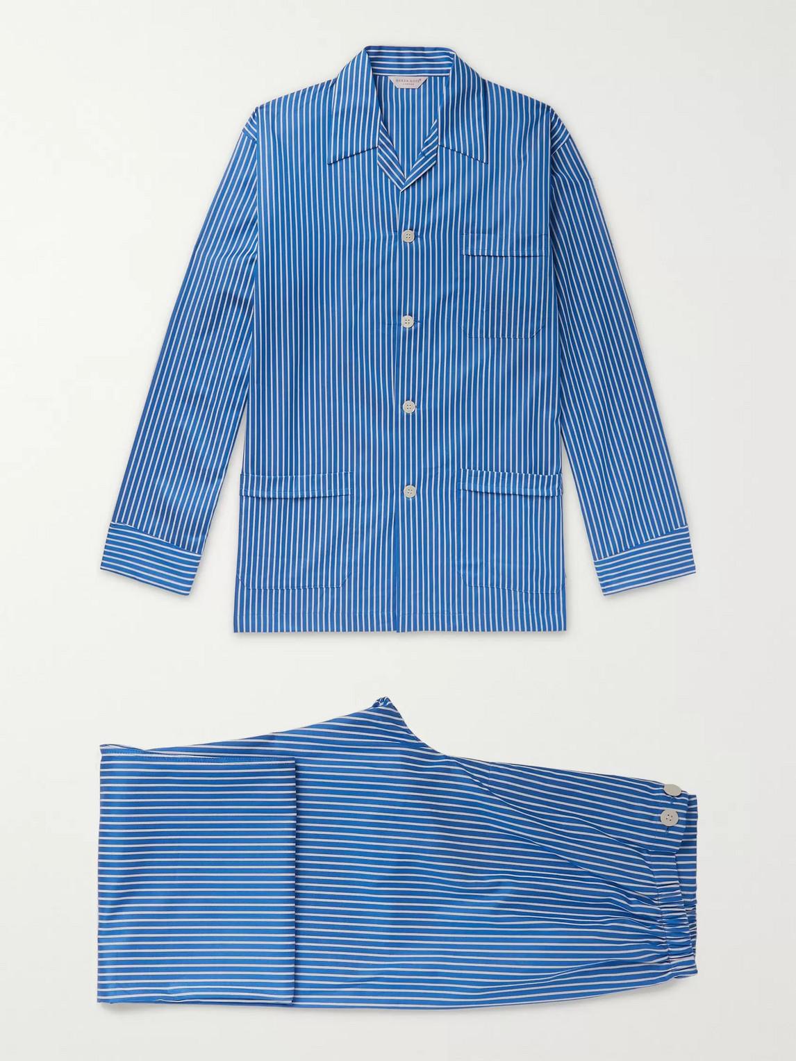 derek rose - royal 215 striped cotton-poplin pyjama set - blue - s - men