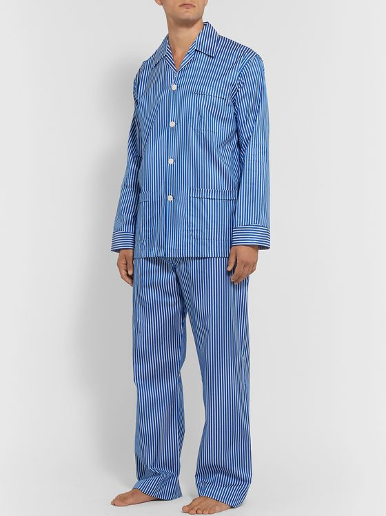 Derek Rose Royal 215 Striped Cotton-Poplin Pyjama Set