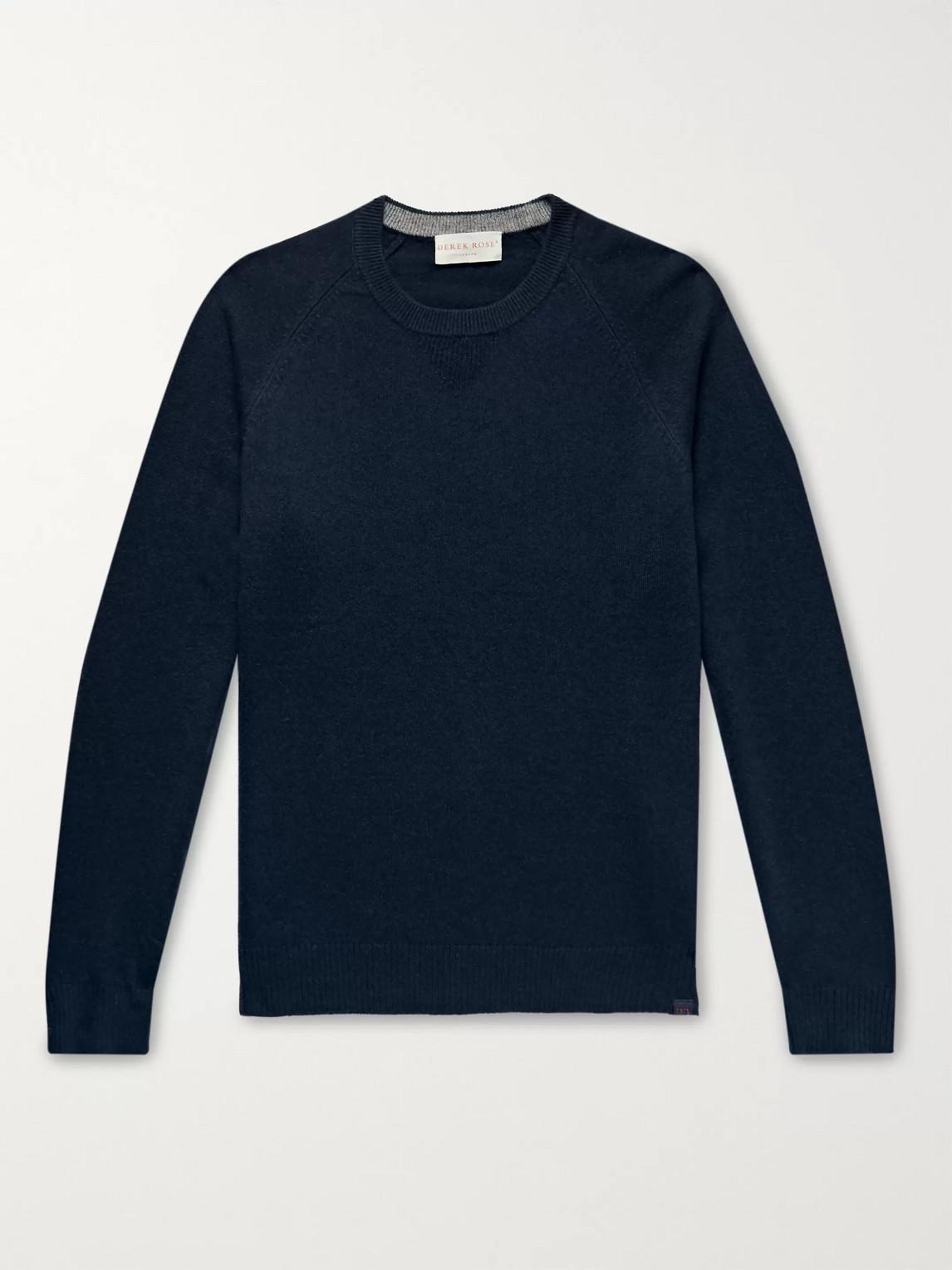 derek rose - finley cashmere sweater - blue