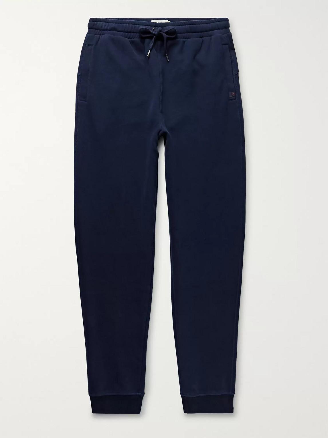 derek rose - devon slim-fit tapered brushed loopback cotton-jersey sweatpants - blue
