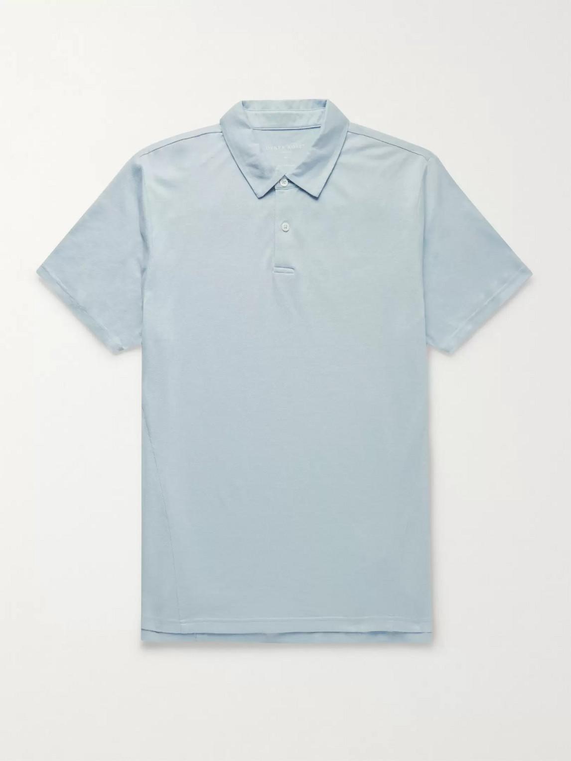 derek rose - ramsay stretch cotton and tencel-blend piquã© polo shirt - blue - xxl - men