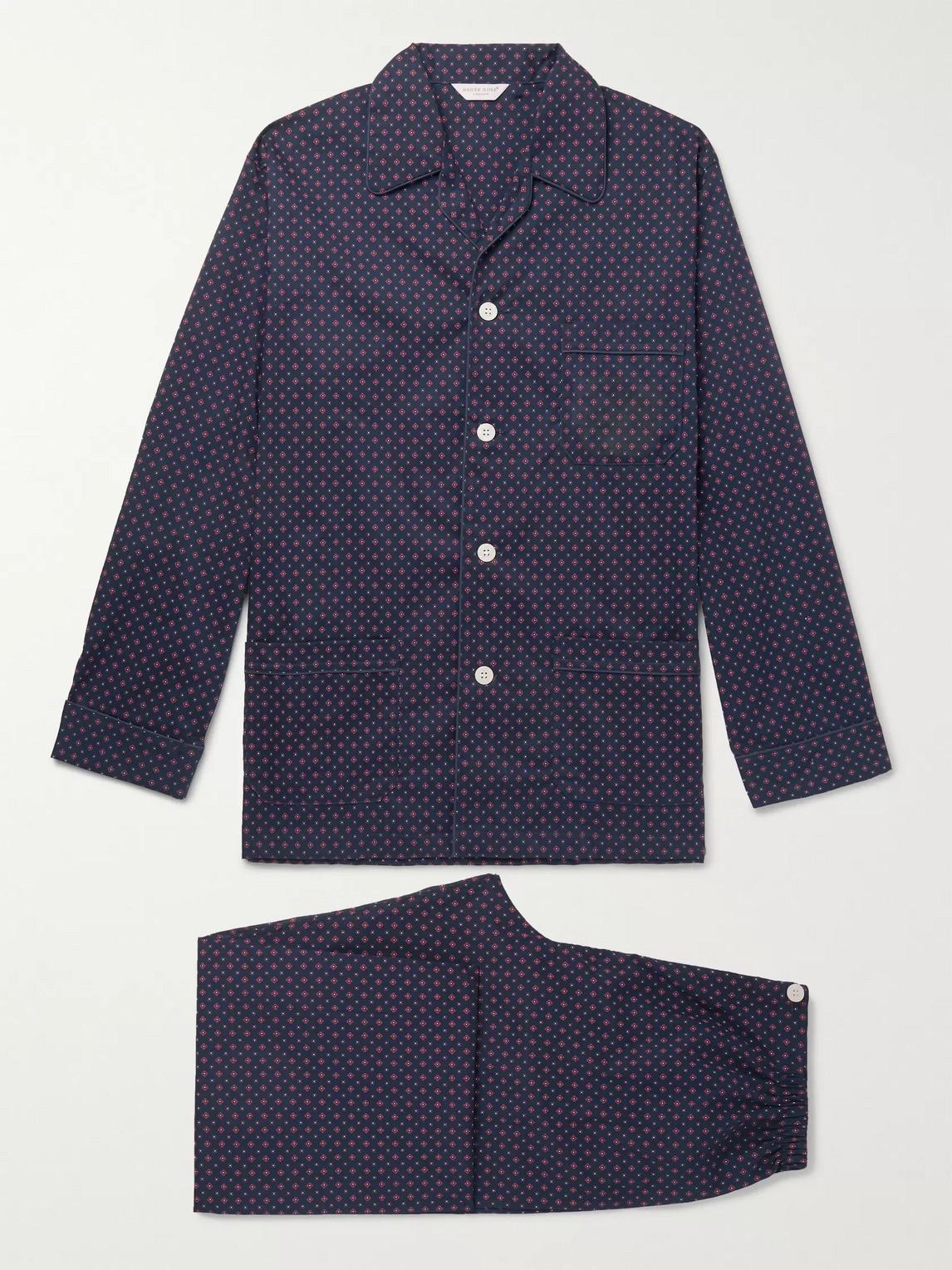 derek rose - nelson 72 printed cotton-poplin pyjama set - blue - xl - men