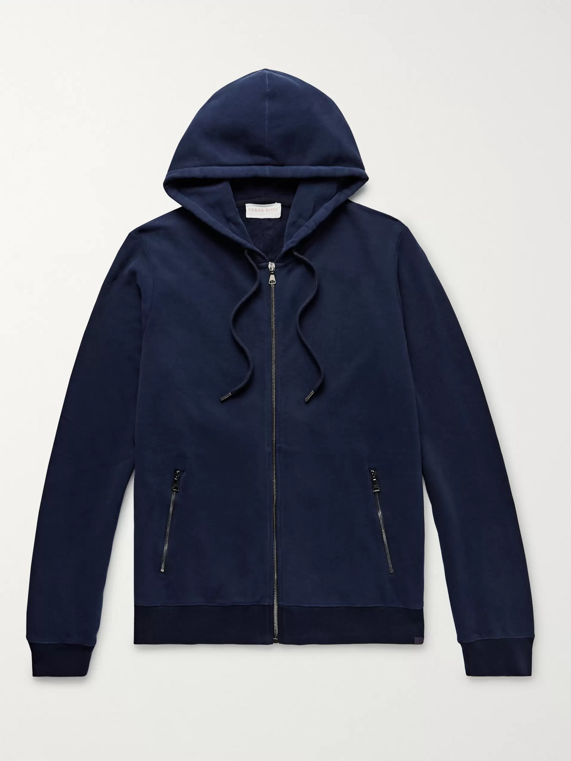 derek rose - devon brushed loopback cotton-jersey zip-up hoodie - blue - s - men