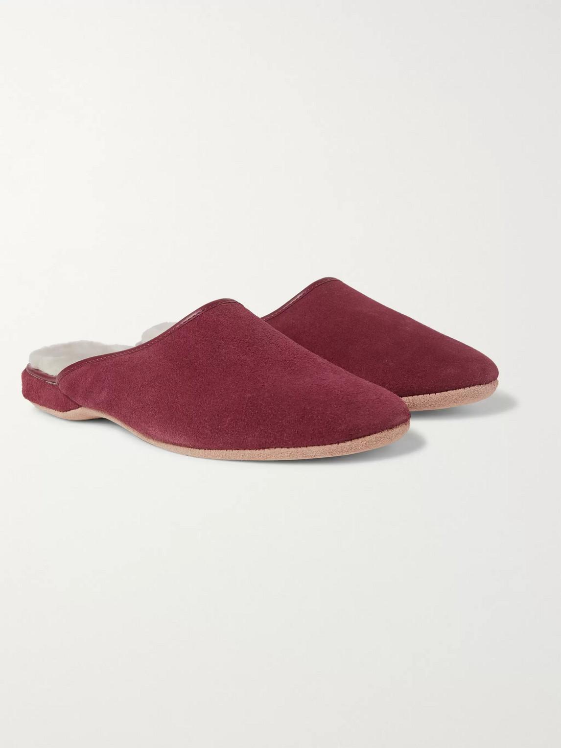 derek rose - douglas shearling-lined suede slippers - burgundy - men