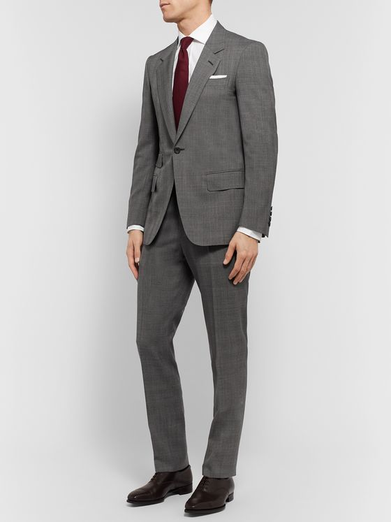 Kingsman Grey Slim-Fit Prince of Wales Checked Wool Trousers