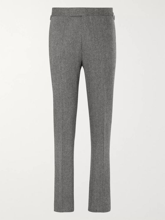 Kingsman Grey Slim-Fit Herringbone Wool and Cashmere Suit Trousers