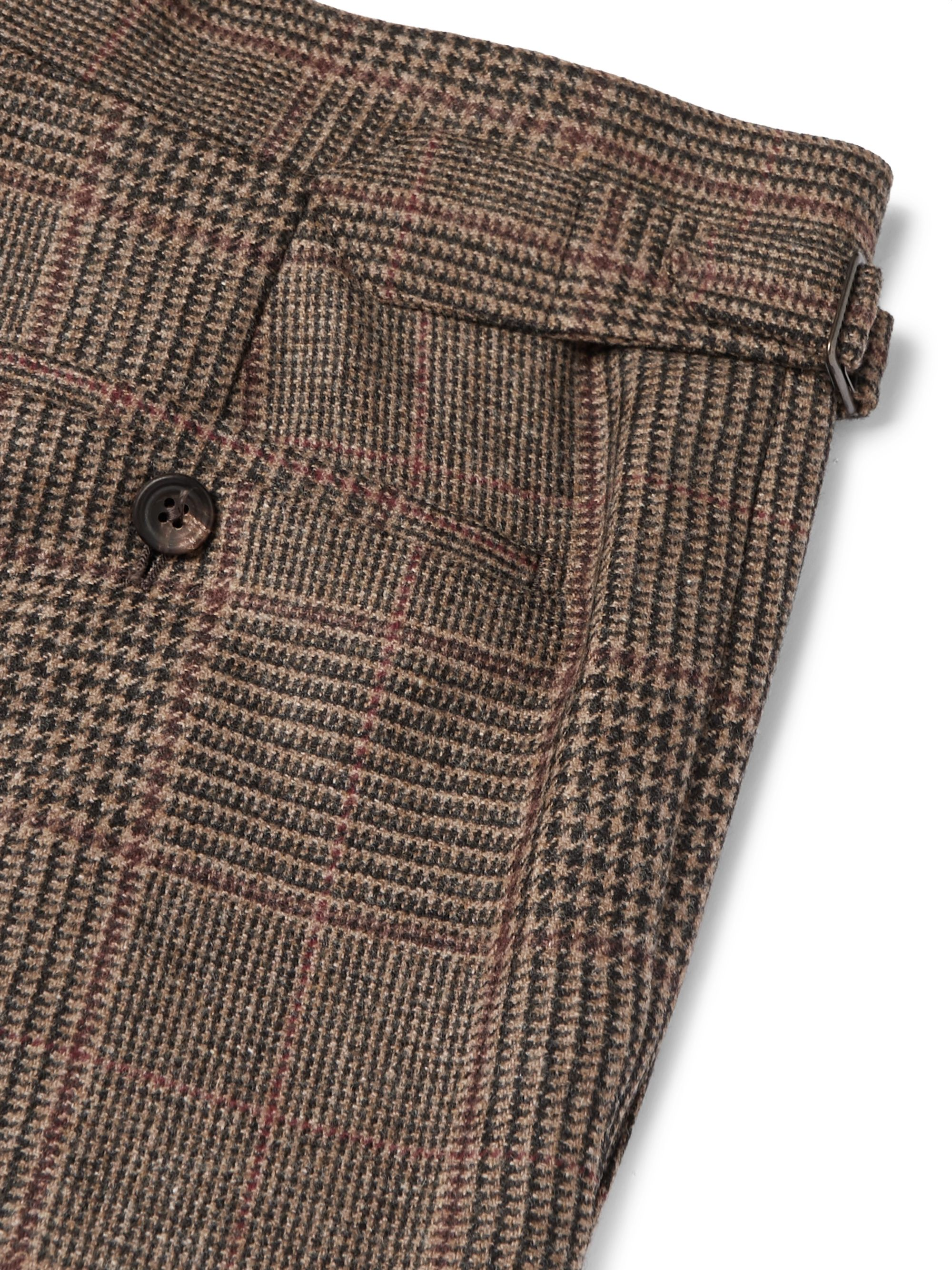 Kingsman Brown Slim-Fit Prince of Wales Checked Wool Suit Trousers