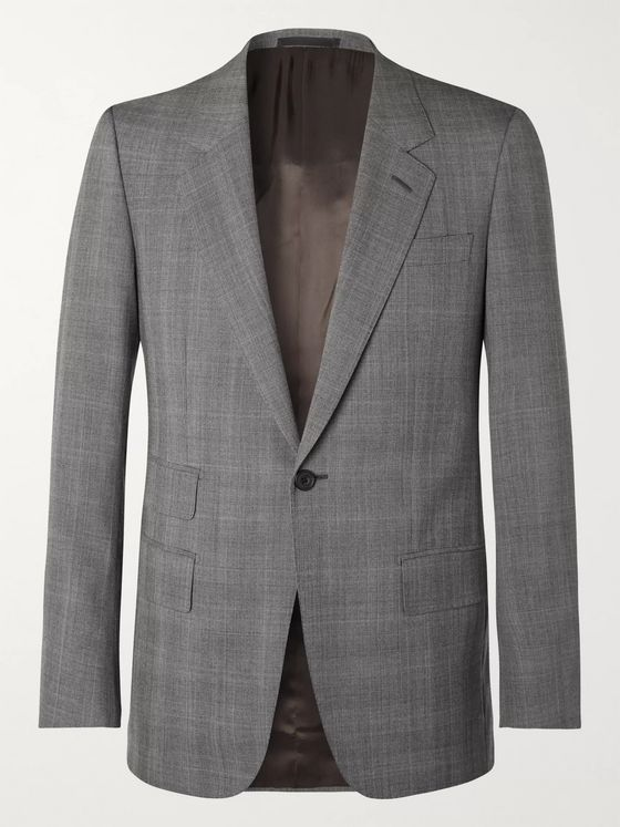 Kingsman Grey Slim-Fit Prince of Wales Checked Wool Suit Jacket