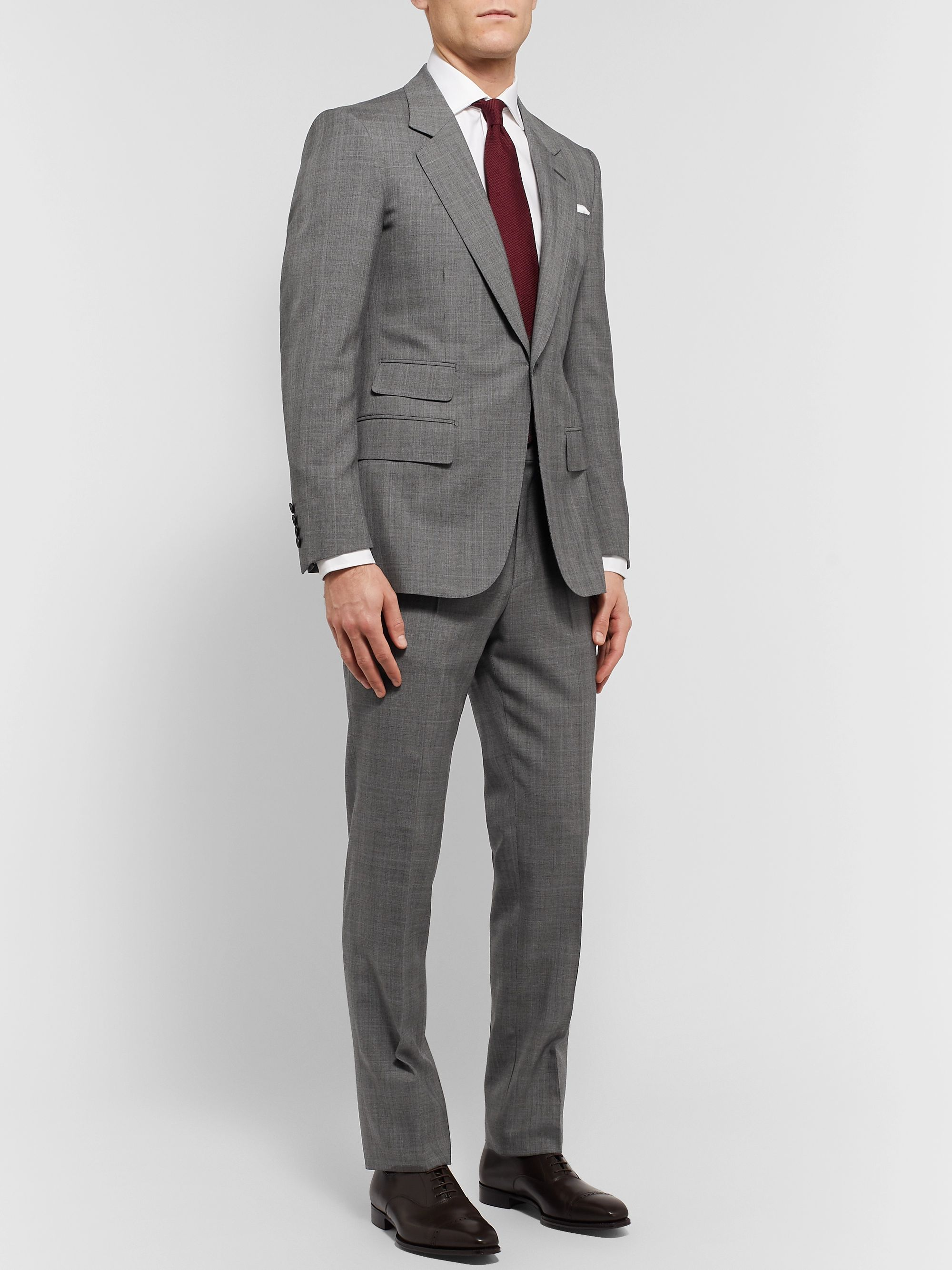 Grey Slim Fit Prince of Wales Checked Wool Suit Jacket