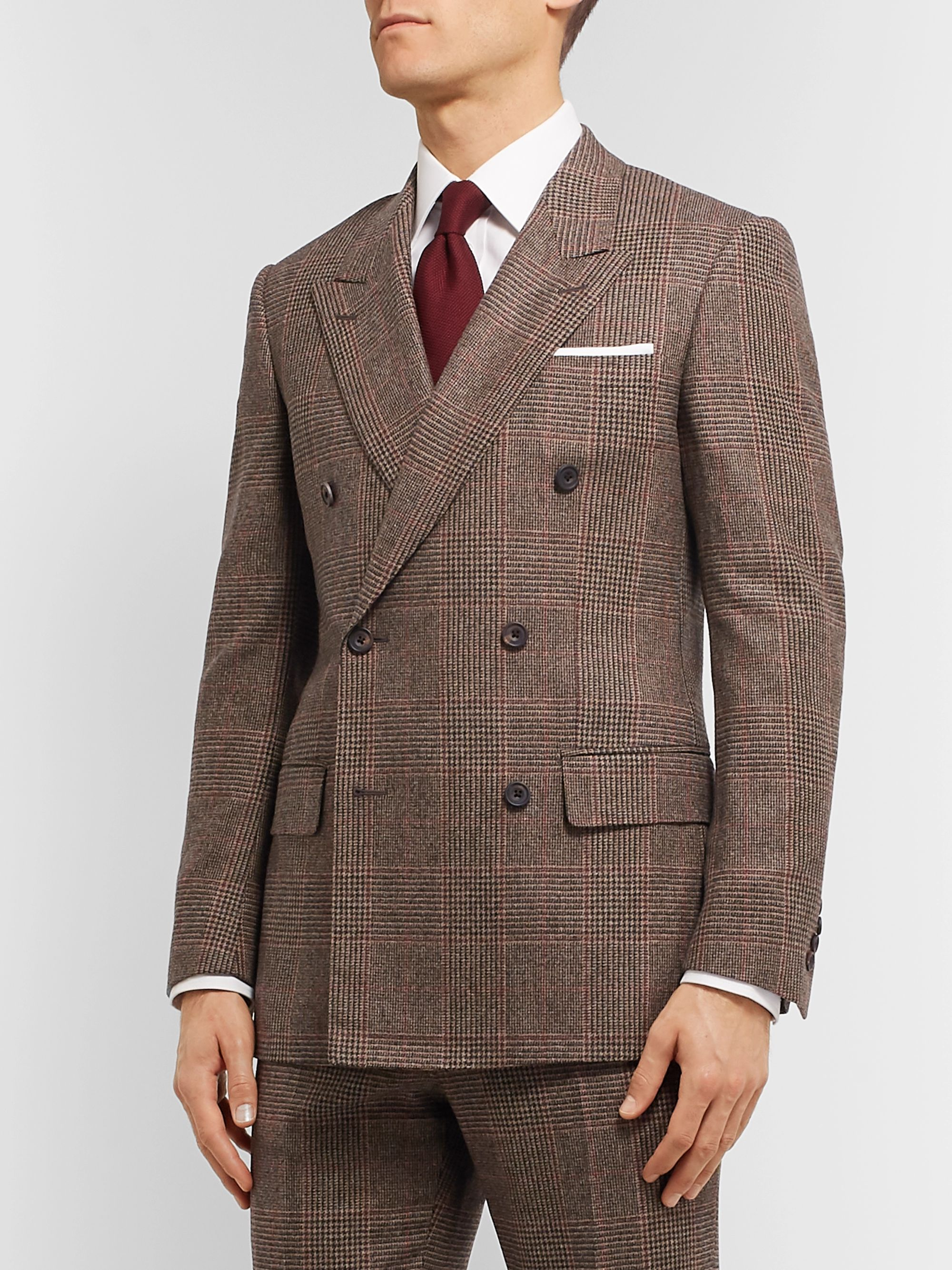 Kingsman Slim-Fit Brown Double-Breasted Prince of Wales Checked Wool Suit Jacket