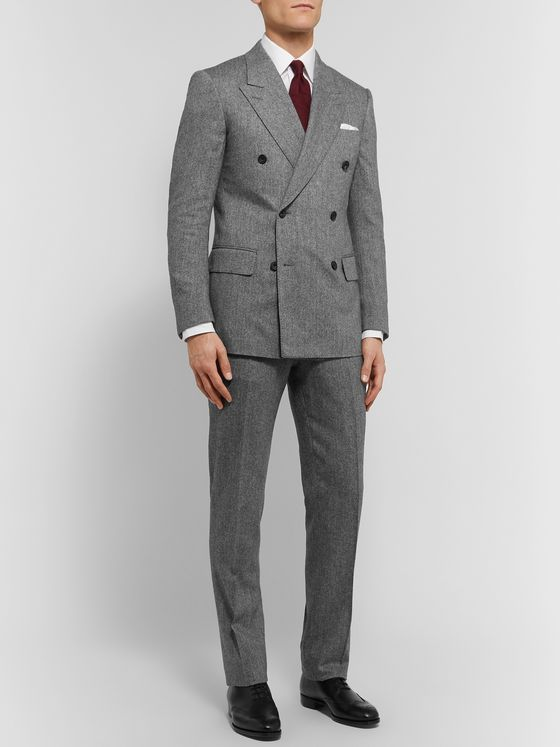 Kingsman Grey Slim-Fit Double-Breasted Herringbone Wool and Cashmere-Blend Suit Jacket