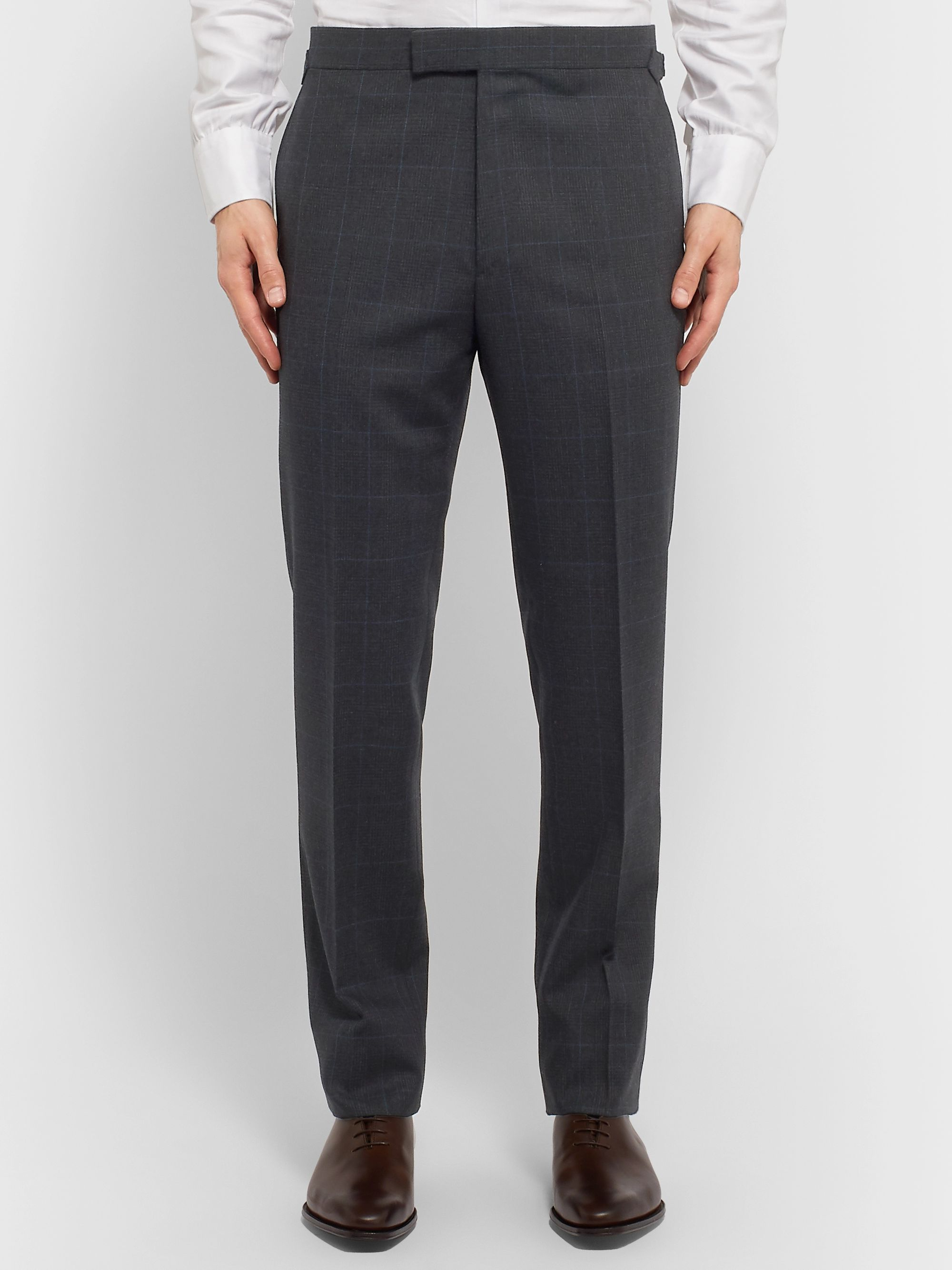 Kingsman Grey Slim-Fit Prince of Wales Checked Wool Suit Trousers