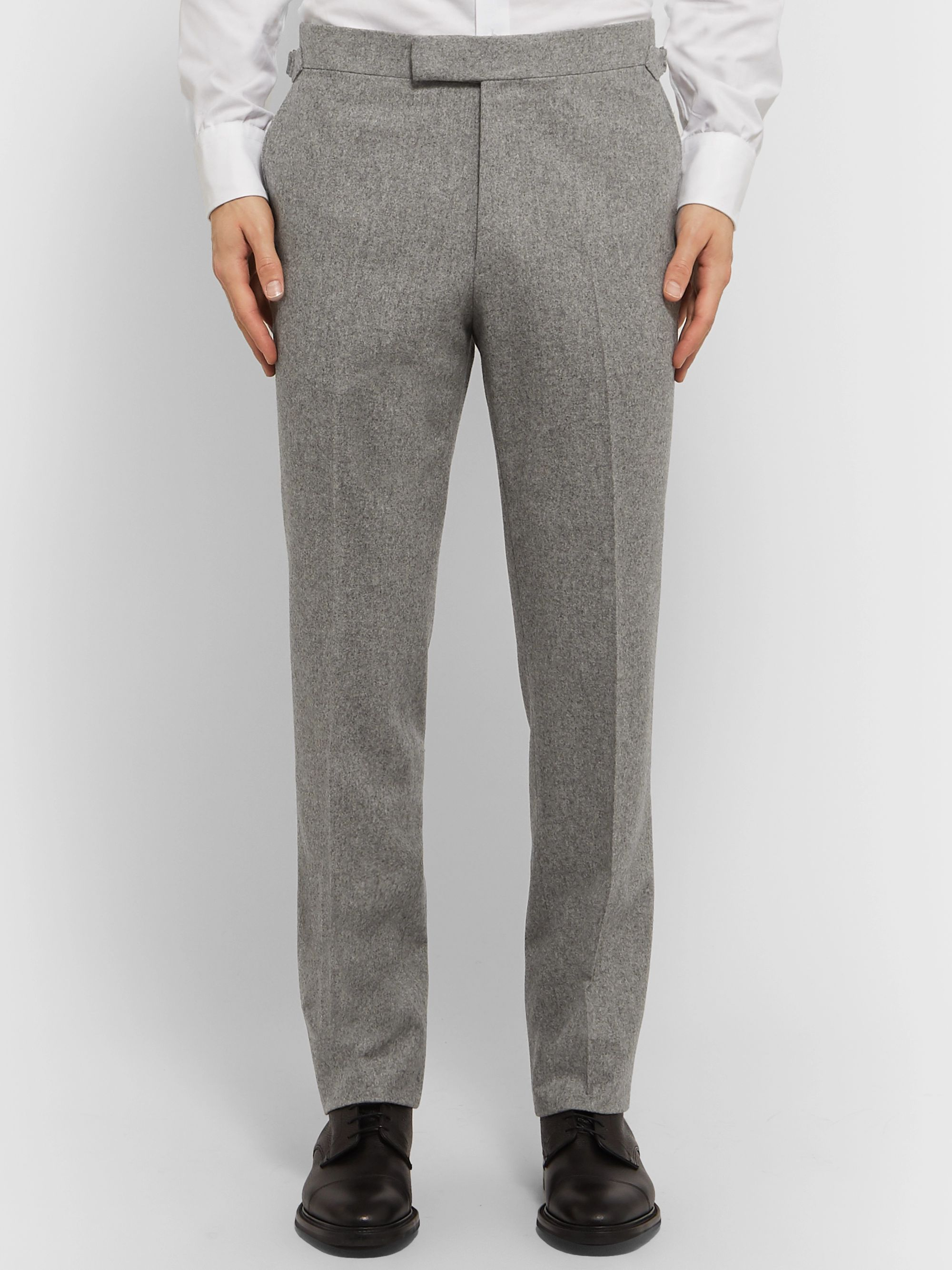 Kingsman Grey Wool-Flannel Trousers
