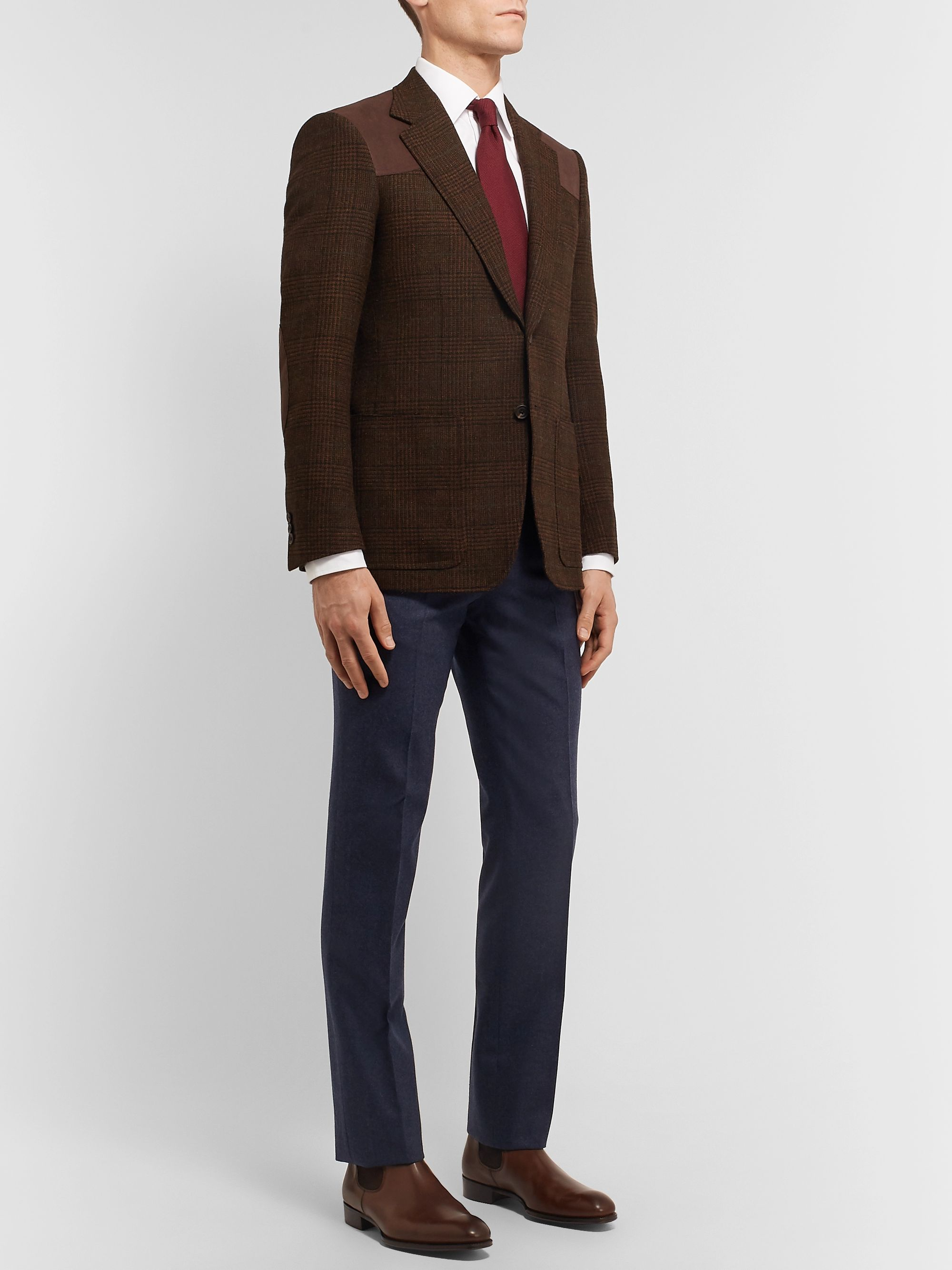 Kingsman Brown Slim-Fit Suede-Trimmed Prince Of Wales Wool Blazer