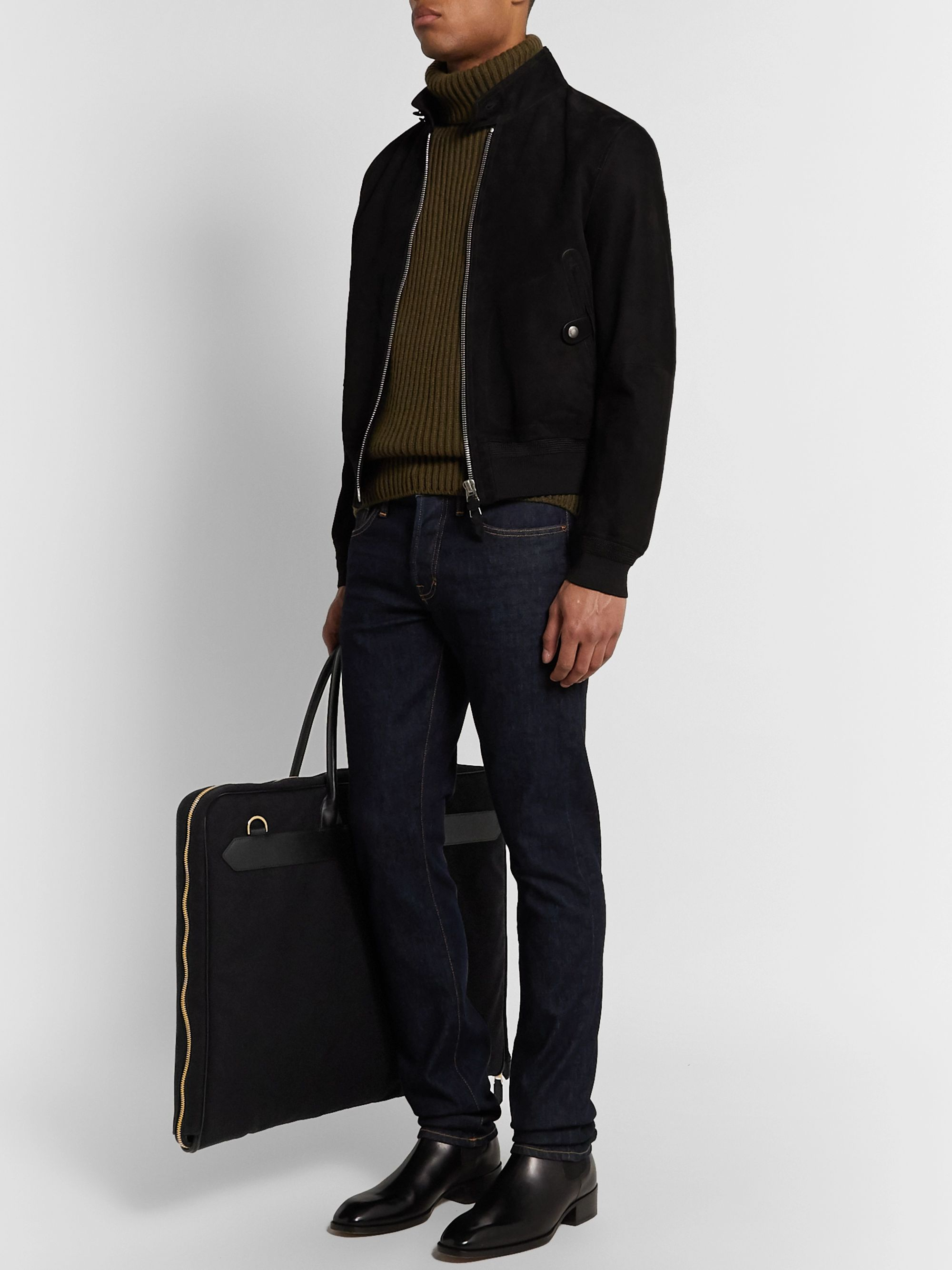 TOM FORD Leather-Trimmed Canvas Garment Bag