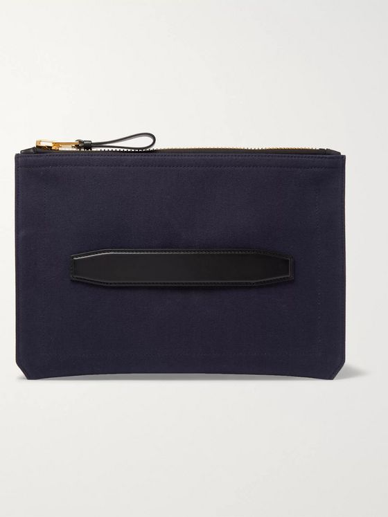 TOM FORD Leather-Trimmed Canvas Pouch
