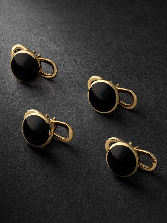 TOM FORD 18-Karat Gold Onyx Shirt Studs