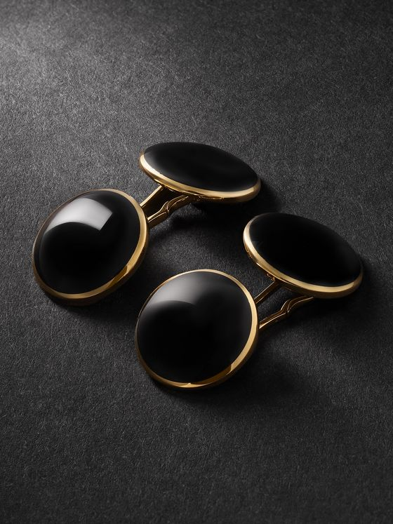 TOM FORD 18-Karat Gold Onyx Cufflinks