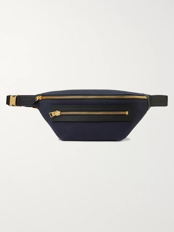 TOM FORD Leather-Trimmed Canvas Belt Bag