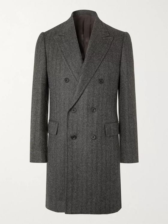 Kingsman Double-Breasted Herringbone Alpaca Coat