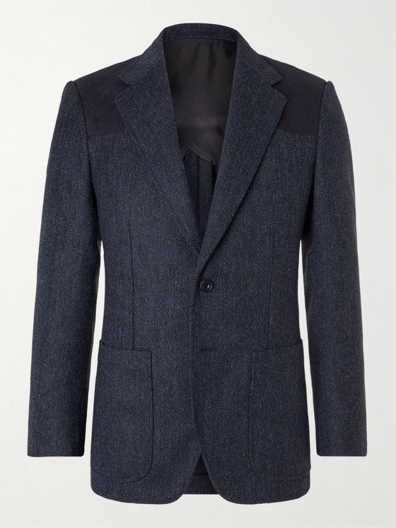 Kingsman Slim-Fit Faux Suede-Trimmed Herringbone Wool Blazer