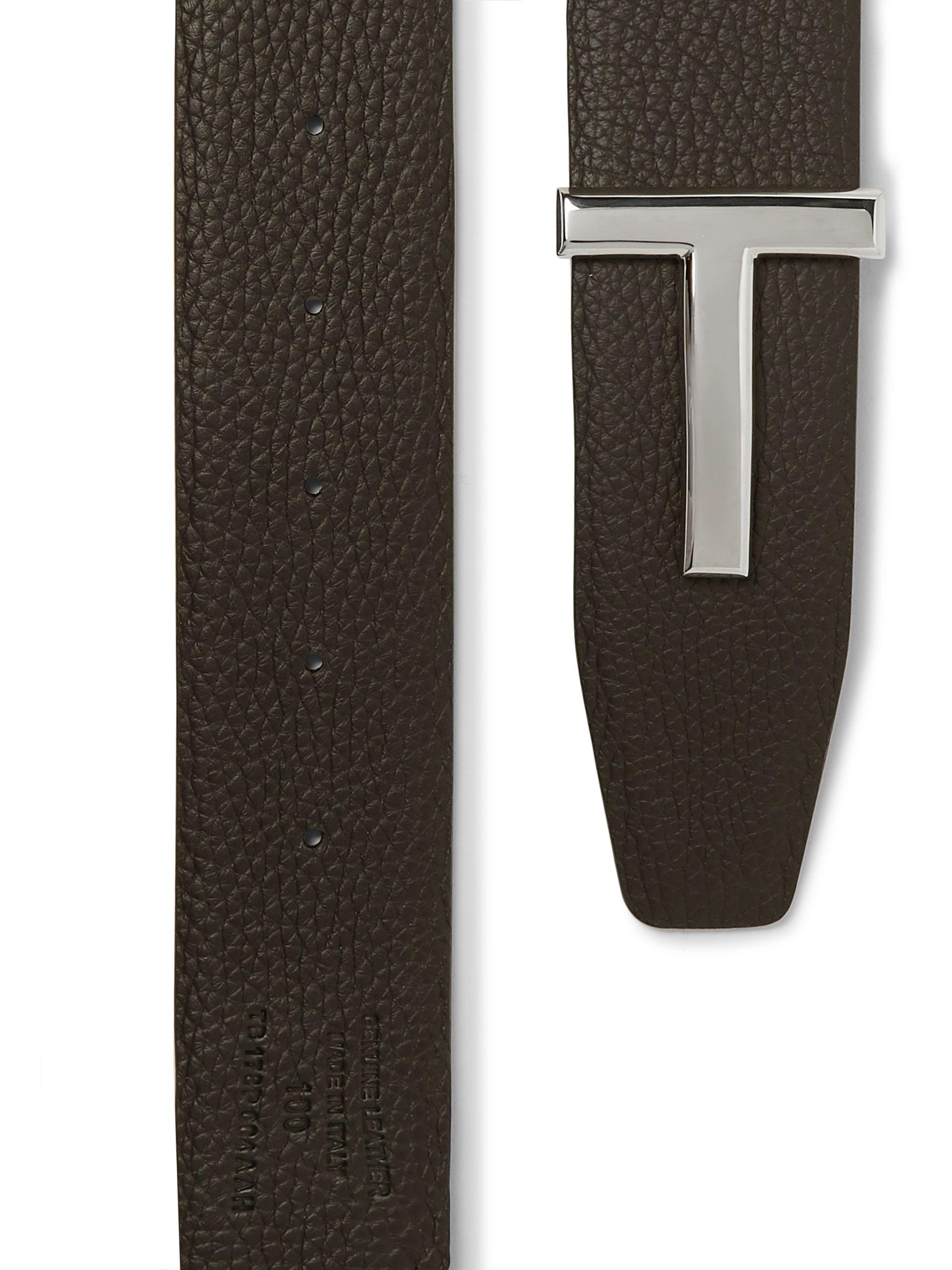 Black 4cm And Brown Reversible Full-grain Leather Belt   Tom Ford