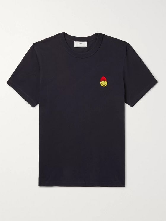 AMI Embroidered Cotton-Jersey T-Shirt