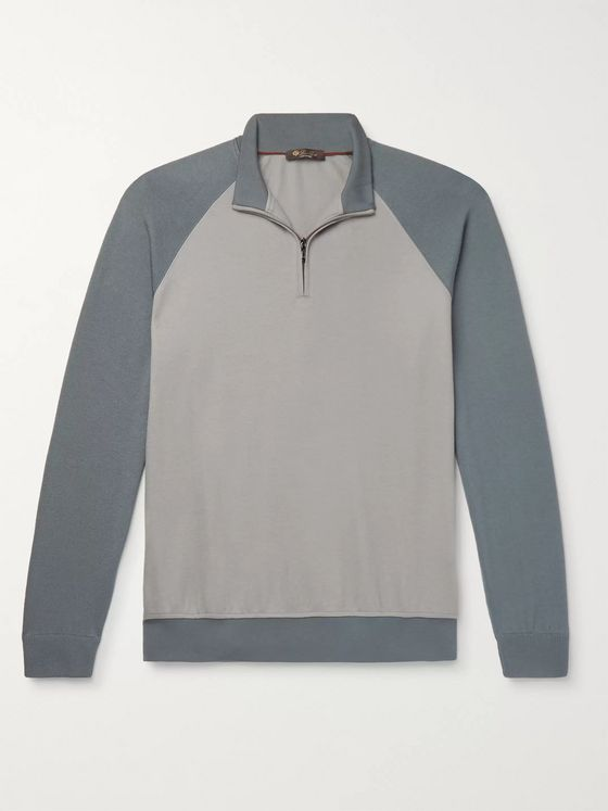 Loro Piana Colour-Block Virgin Wool and Cashmere Half-Zip Sweatshirt