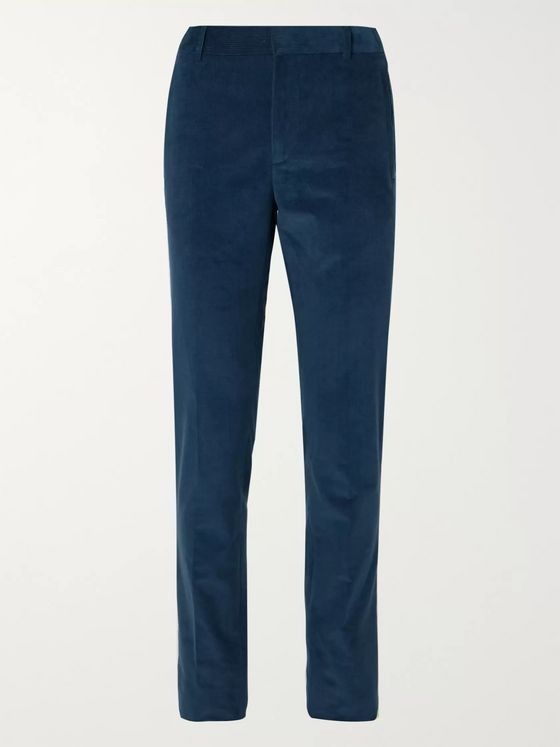 LORO PIANA Tapered Cotton and Cashmere-Blend Corduroy Suit Trousers