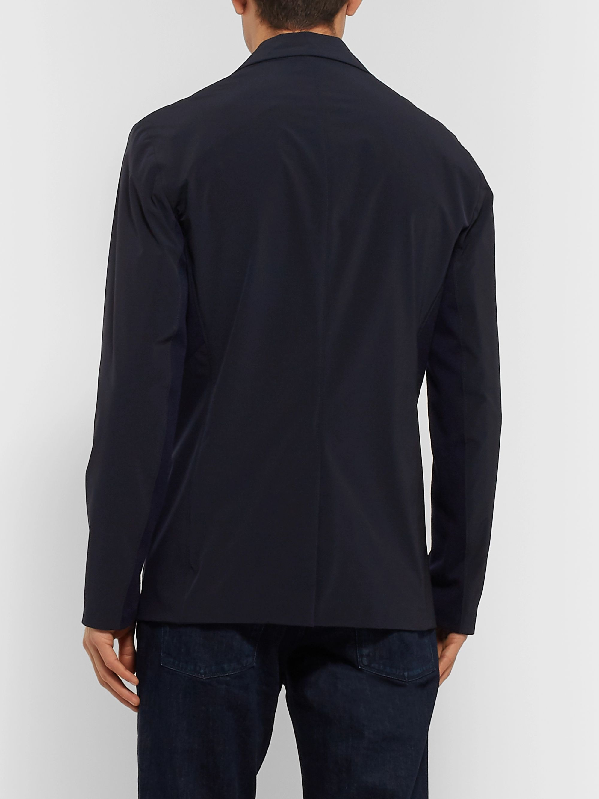 Loro Piana Jersey-Trimmed Storm System Shell Blazer