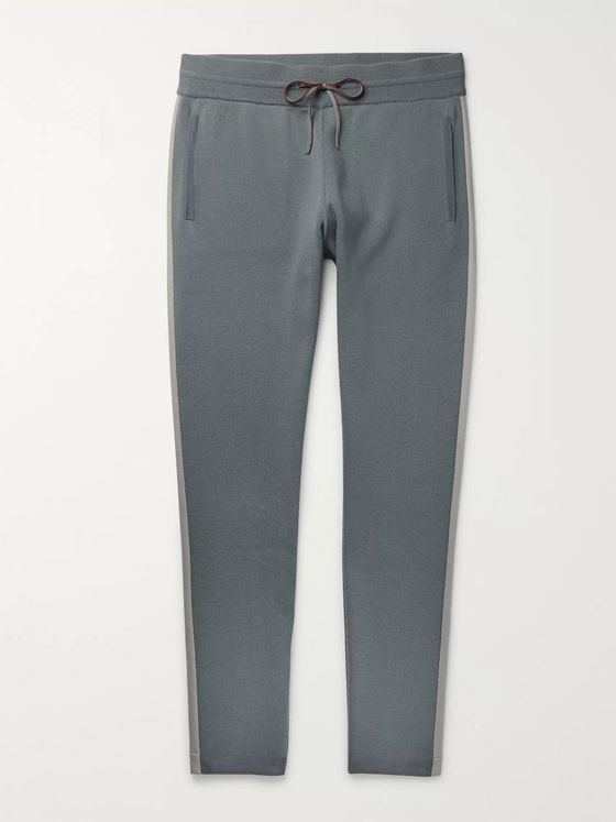 LORO PIANA Tapered Cashmere-Trimmed Virgin Wool Sweatpants
