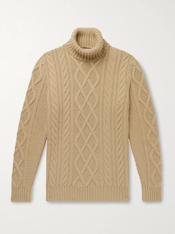 LORO PIANA Cable-Knit Baby Cashmere Rollneck Sweater