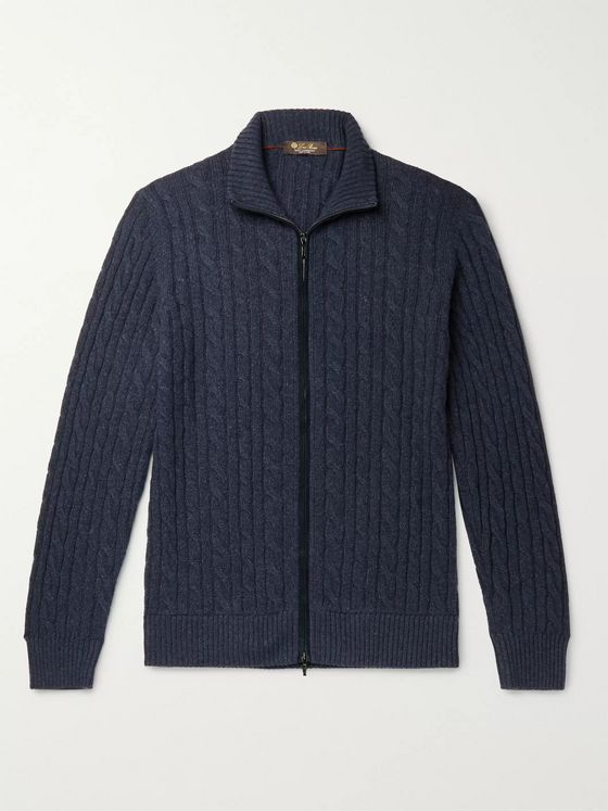 Loro Piana Cable-Knit Baby Cashmere Zip-Up Sweater