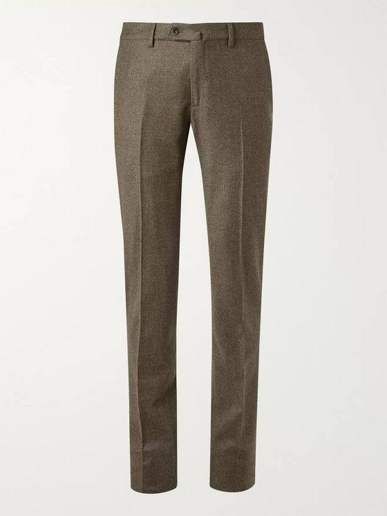 Loro Piana Grey Slim-Fit Puppytooth Wool and Cashmere-Blend Trousers