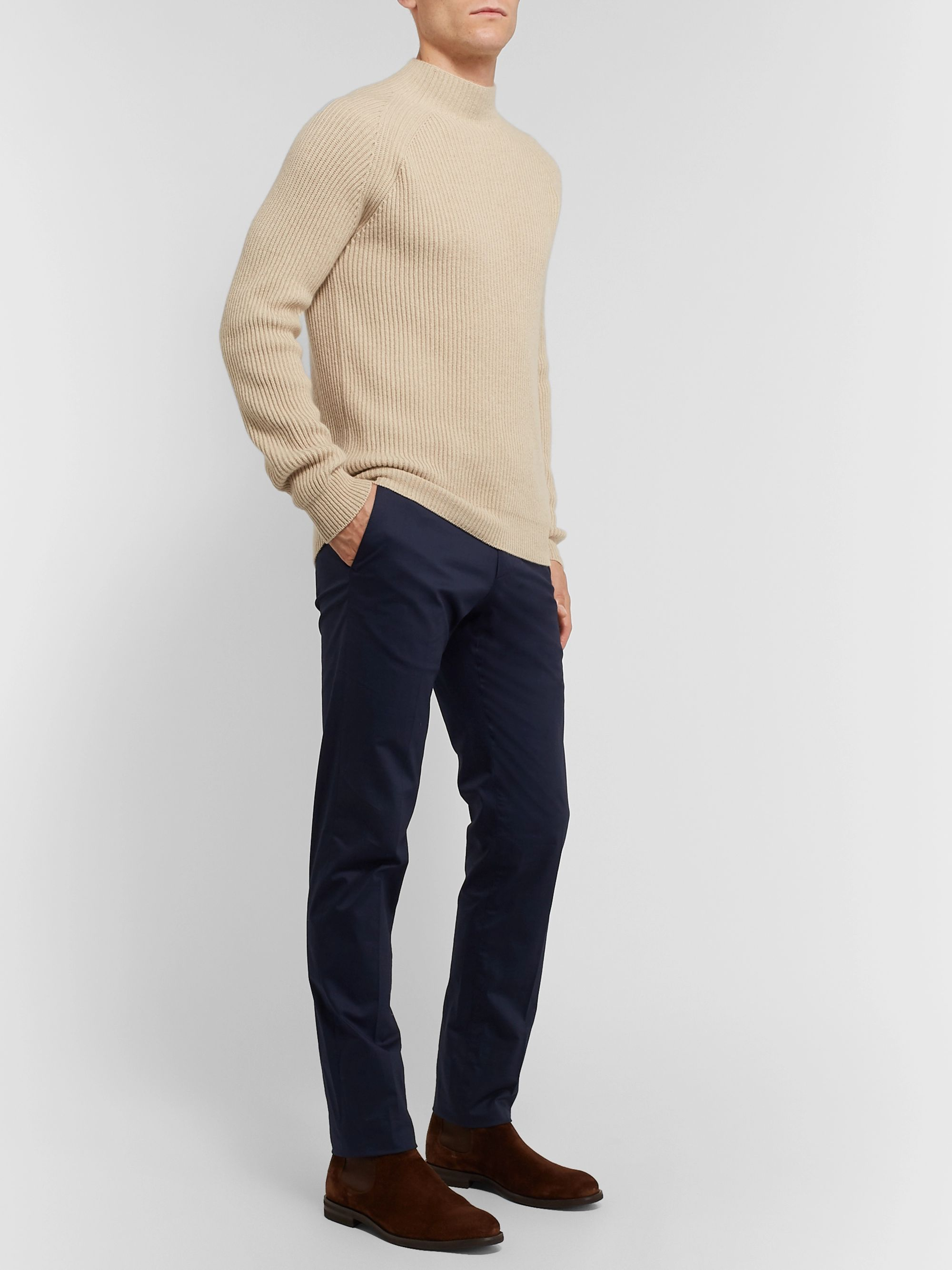 Loro Piana Ribbed Baby Cashmere Mock-Neck Sweater