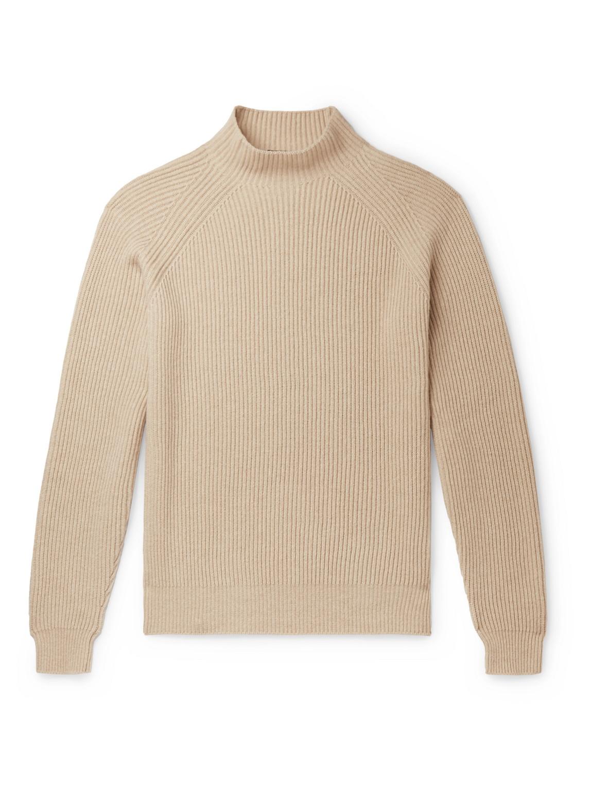 loro piana - ribbed baby cashmere mock-neck sweater - men - neutrals - it 54