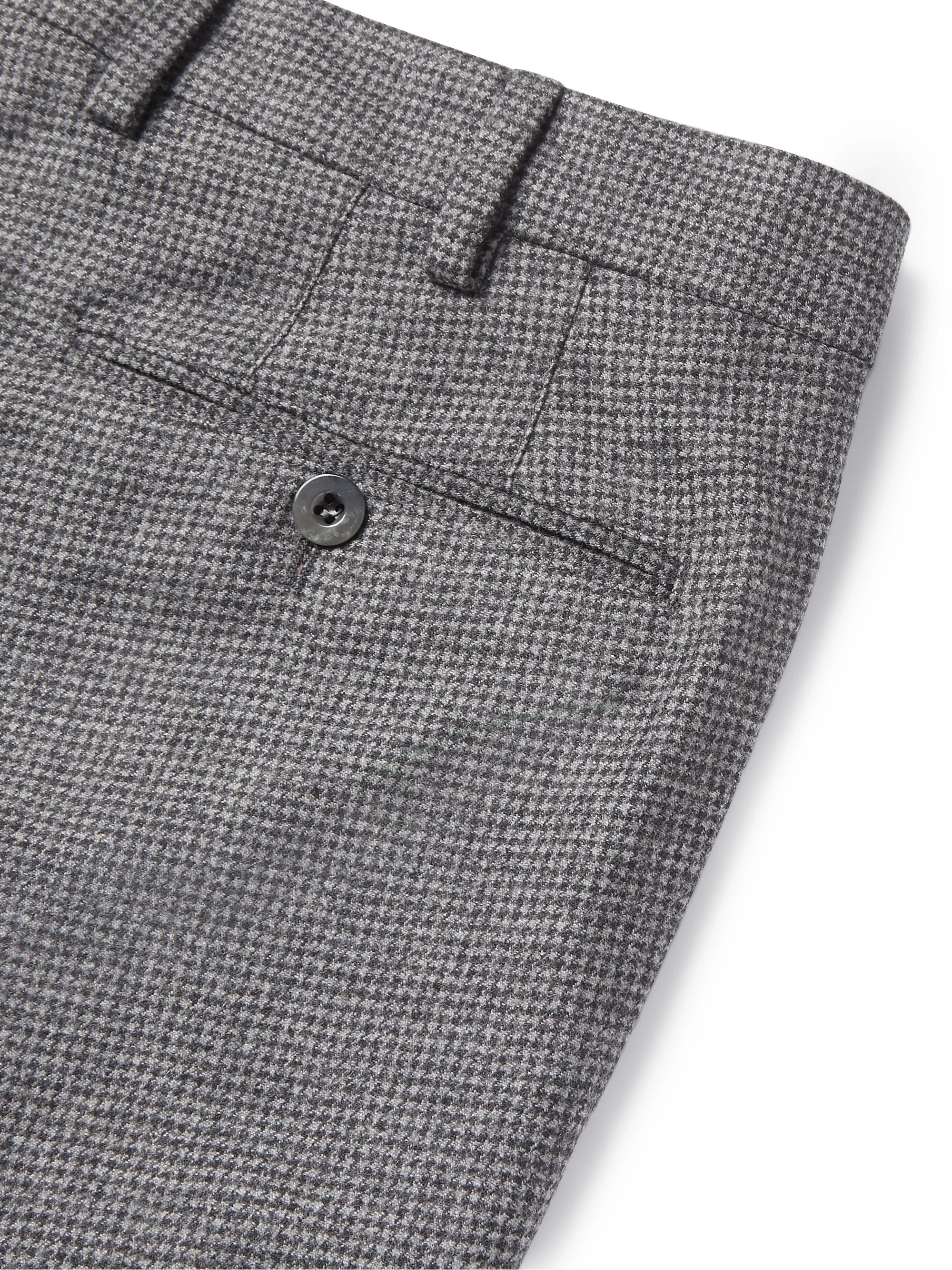 Gray Grey Slim-fit Puppytooth Wool And Cashmere-blend Trousers | Loro Piana