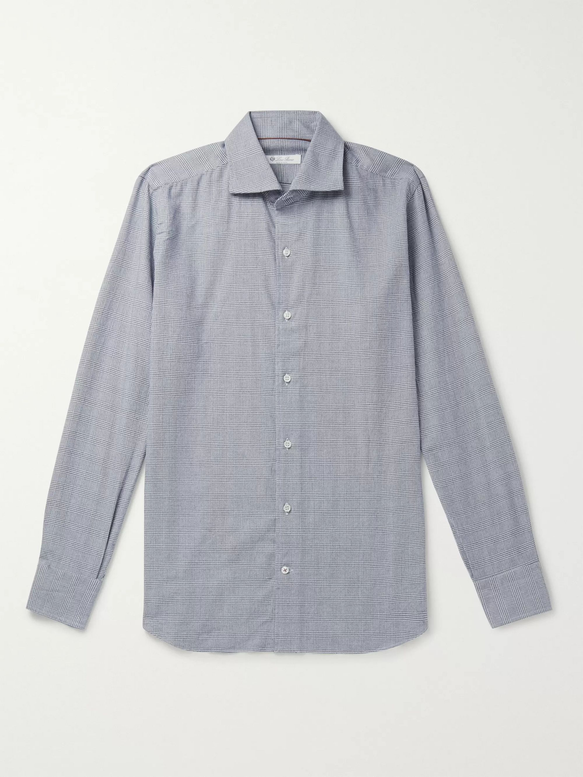 Loro Piana Slim-Fit Prince of Wales Checked Brushed-Cotton Shirt