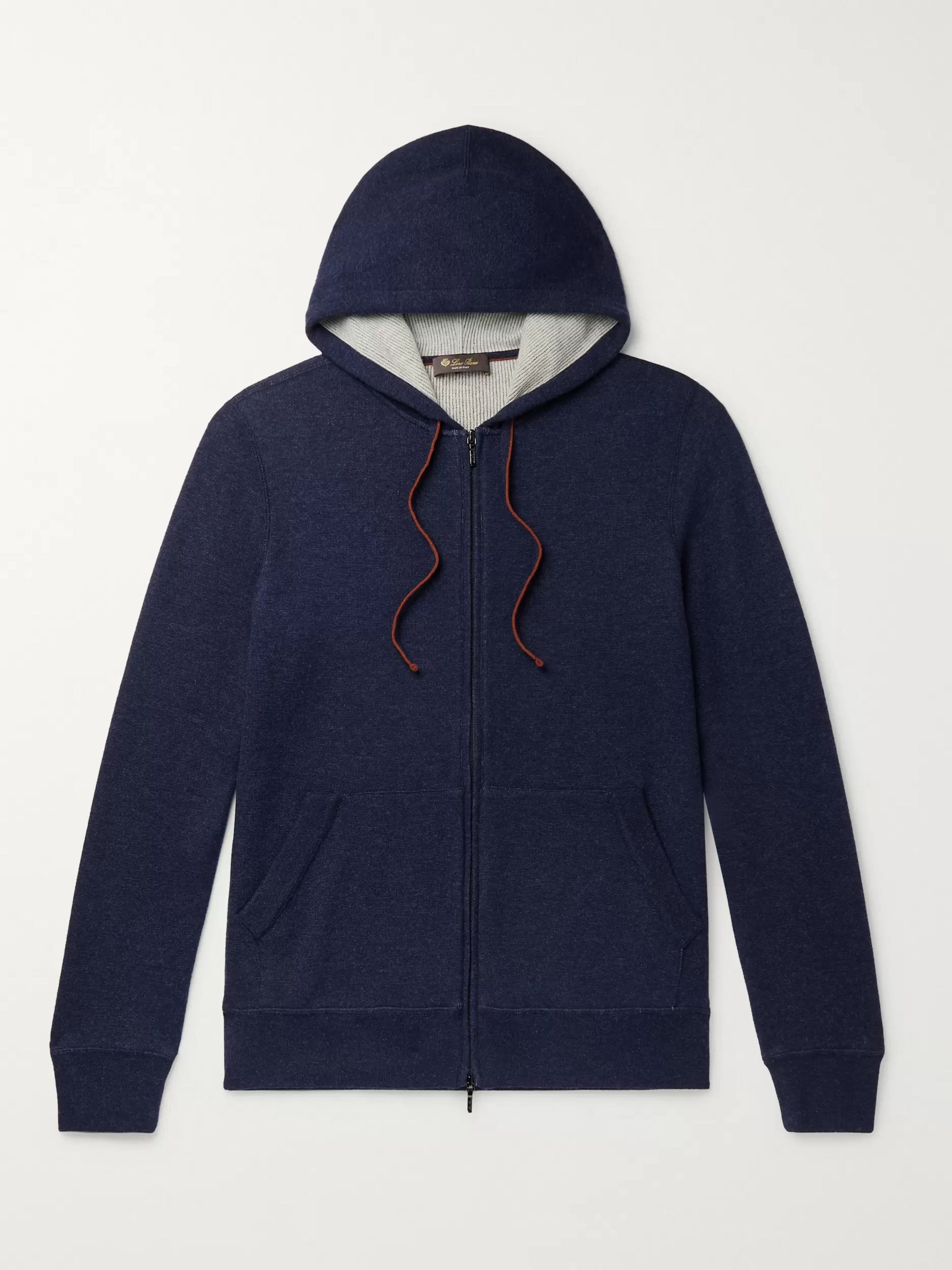 LORO PIANA Mélange Cashmere-Blend Zip-Up Hoodie