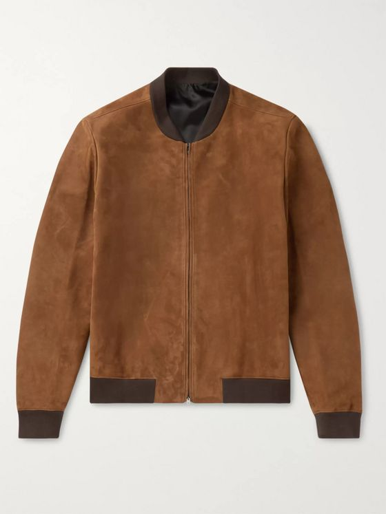 THE ROW Suede Bomber Jacket