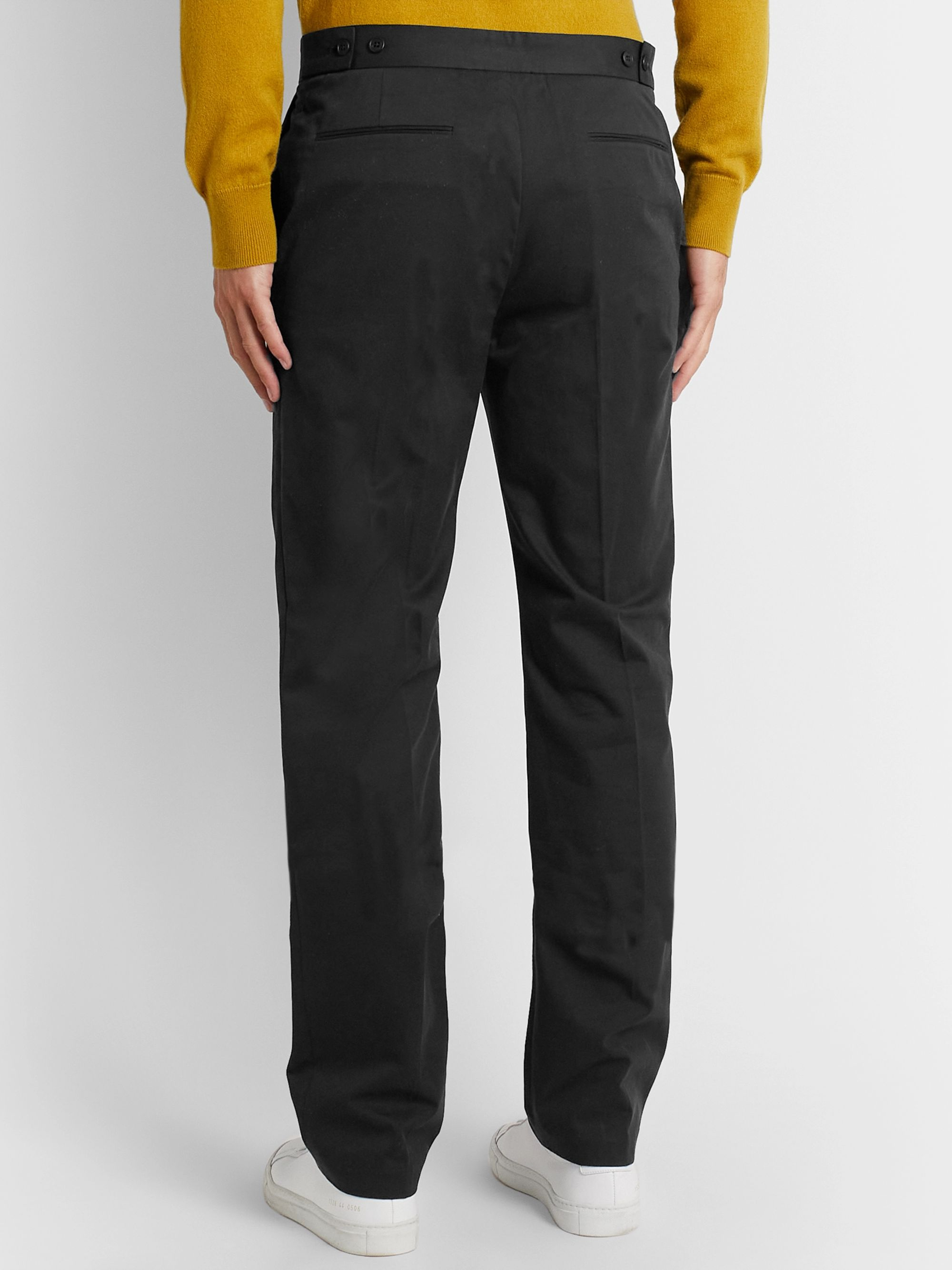 The Row Black Walker Cotton and Cashmere-Blend Drill Trousers