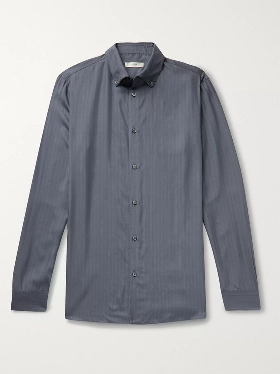 The Row Robert Button-Down Collar Striped Silk Shirt